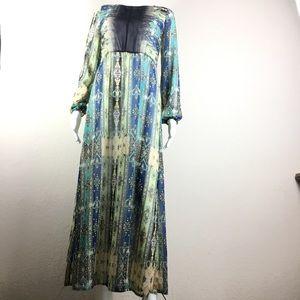 Petticoat Alley M Long Sheer Chiffon BoHo Dress